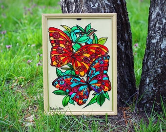 Flower butterfly  stained glass art Pained glass wall decor