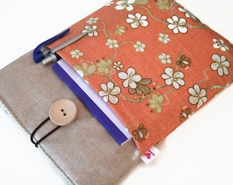 Samsung Tab case, case Samsung Tab  E 9.6, Galaxy Tab E 9.6 sleeve, Galaxy Tab 4 10.1 cover, Linen Galaxy Tab A Pouch - floral pockets