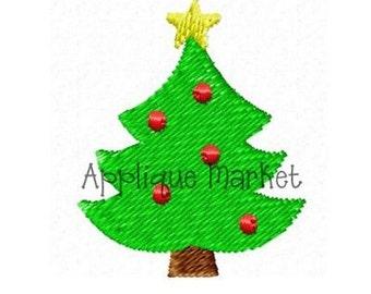 Machine Embroidery Design Applique Mini Christmas Tree INSTANT DOWNLOAD