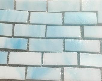 "Lt SKY BLUE - 3/8"" X 1"" Stained Glass Mosaic Tile Borders J2O2"