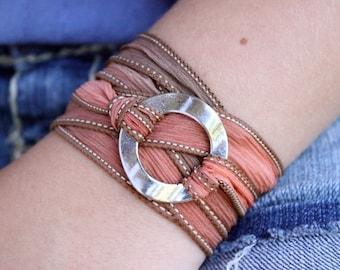 """READY TO SHIP Silk Ribbon Wrap Bracelet """"Spell"""" - Infinity Circle 18 Colors To Choose From - Hypoallergenic Boho Chic Jewelry"""