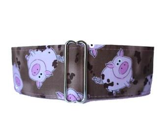 Pig Martingale Dog Collar, 2 inch Martingale Collar, Pig Dog Collar, Brown and Pink, Brown Dog Collar, Brown Martingale Collar