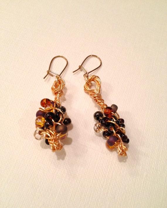 SJC10291 - Wire braided multi-colored (wheatberry) bead earrings