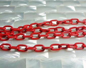 1 Foot Aluminum Chain Red Shiny Oval Link Lightweight Jewelry Chain Jewellery Supplies Fancy Simple Medium Link