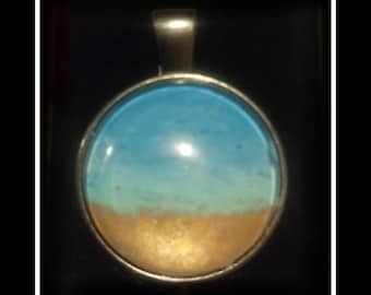 Hand painted beach scene pendant
