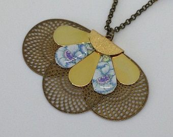 Resin, printed butterfly and Flower necklace.