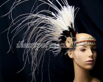 Simple side hau and niau Tahitian dance costume head piece