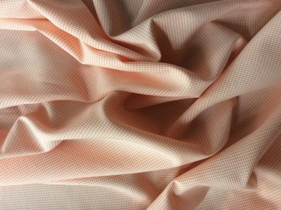 Coton poplin, soft orange check weave