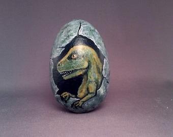 Wooden Painted Dinosaur Egg