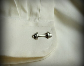Barbell Cuff Links, Sterling silver cuff links
