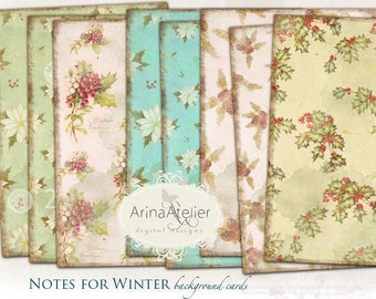 Notes for winter Background Papers Set - Digital Papers - Vintage Backgrounds - digital scrapbooking - set of 4 - Printable Download