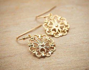 Gold Filigree Earrings, Lace Dangle Earrings, Chic Bohemian Earrings, Delicate Gold Lace Earrings, Bridesmaid Gift, Gold Wedding Earrings