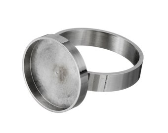 Stainless steel adjustable rings round cabochon settings (fits 15mm dia.) Hypoallergenic