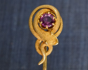 Antique Victorian Amethyst Snake Stick Pin in 18k Gold, c1900