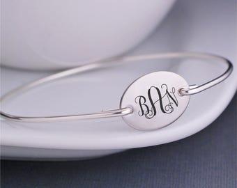 Monogram Bracelet, Silver Monogrammed Jewelry,  Personalized Bridesmaid Gift Bangle Bracelet, Wedding Jewelry