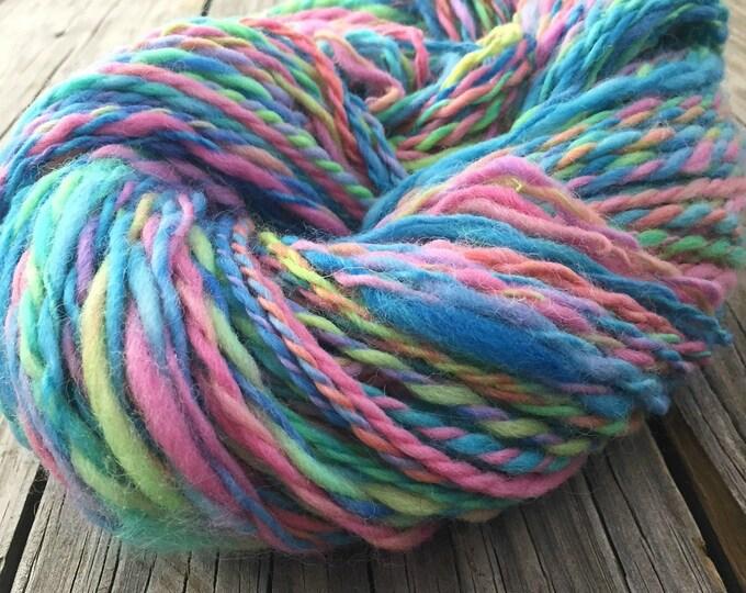 Spring is Coming Handspun Yarn Bulky 2 ply wool bubblegum pink spring green sky blue robins egg butter yellow FiberTerian 118 yards