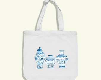 chinoiserie tote bag - chinoiserie bag - chinoiserie print - chinoiserie ginger jar - blue and white chinoiserie - chinoiserie art print