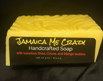 Jamaica Me Crazy Handcrafted Soap, Tropical Scent, Natural, Artisan Soap, Shea Butter, Mango Butter, Cocoa Butter, Bath and Body Product
