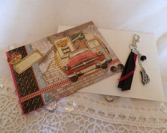 "Card 3D ""vintage car"" and her cub keychain"