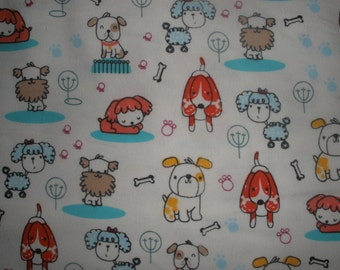 FLANNEL - Dog Fabric - Colorful Puppies