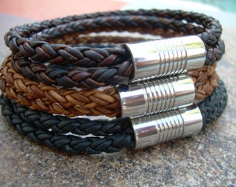 Mens Leather Bracelets Mens Bracelets Leather Braided Mens Leather Bracelet with Stainless Steel Magnetic Clasp Mens Jewelry Gift for Dad