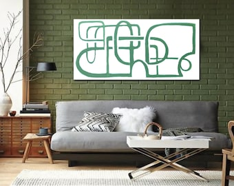 """Original large abstract painting - acrylic on canvas - 18""""x36"""" - green and white - line art - graphic geometric - minimal minimalist"""