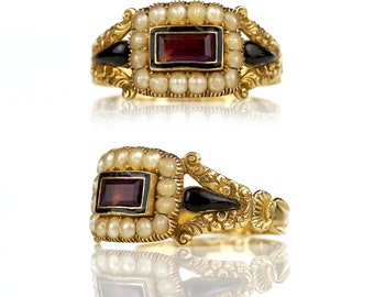Georgian Ring - 1830 Mourning Ring 18k Gold Amethyst Pearls Inscription Hallmarks, Antique Ring Antique Jewelry Austen Black Enamel Memorial