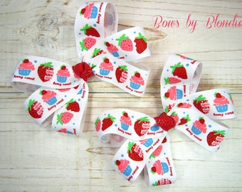 Berry Sweet Triple mini pigtail set (TWO BOWS)!