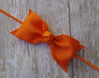 Boutique Orange Tuxedo Bow Skinny Elastic Headband Infant/Toddler Hair Bow Bowband Orange Baby Headband Orange Baby Bow