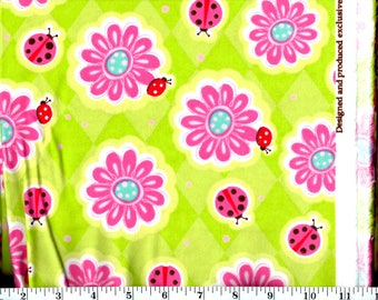 1 Yard 35 Inches, Pink ladybugs and Flowers on Green Flannel