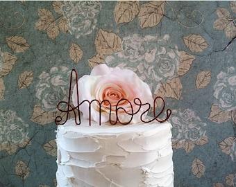 AMORE Wedding Cake Topper, Vintage Cake Decoration, Anniversary Cake Decoration, Bridal Shower, Engagement Party, Rustic Wedding Centerpiece