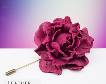 Genuine Leather Flower Pin, Rose Brooche, Handmade Flower Accessory, Colourful Pin, Festival Accessory, Leather Rose