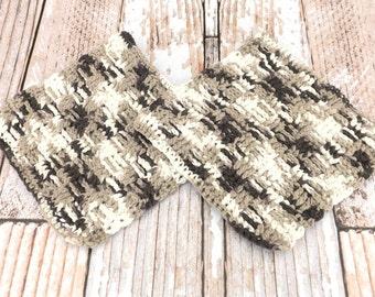 Brown and White Cotton Dishcloths - 100% cotton dishcloth - textured cotton washcloth - brown and white dishrag - housewarming gift