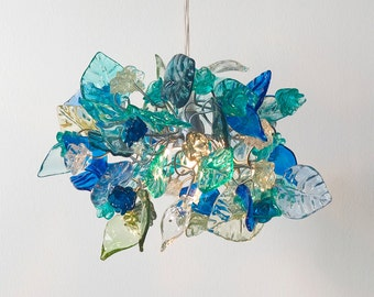 Pendant Lighting, Sea color flowers and leaves Ceiling Lamp for hall, bedroom or kitchen island lighting, pendant lights.