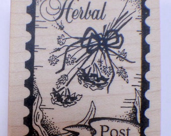 Stampington And Co Wooden Rubber Stamp Herbal Post PostageHerb Bouquet