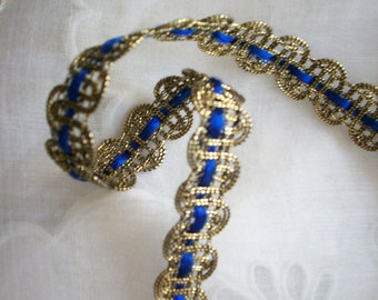1 yard of French metal lapis/gold trim antique, more avail.