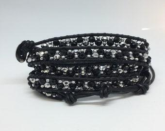 Handmade leather wrap bracelet black and silver