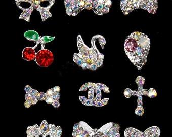 12 pcs 3D Rhinestone Beads for Nail Art Decor