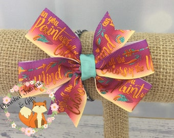 Purple Orange Copper Turquoise Pocahontas Inspired Can You Paint With All the Colors of the Wind Hair Bow