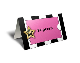 Pink Oscar Party Food Tent Cards. Hollywood Place Cards or Food Labels. Pink Sparkle VIP Party. *INSTANT DOWNLOAD*