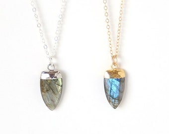 Luxurious Labradorite Point Necklace // 14K Gold Filled // simple everyday modern bridal jewelry