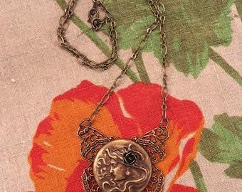 Lady Love Butterfly Vintage Brass toned Art Noveau style necklace