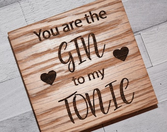 Gin & Tonic Solid Oak Coaster, Gin Lover Gift, Gin and Tonic Lover, Valentine's Gift, Drinks Coaster, Drink Lovers Gift, Gift for Him or Her