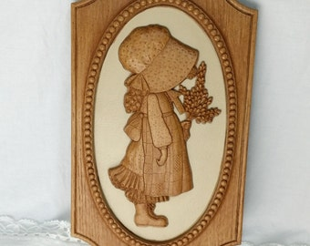 Holly Hobbie 70's Faux Wood Picture - funky fun retro - American Greetings 1972