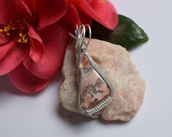Crazy Lace Agate ~ Sterling Silver Jewellery ~ Gemstone Jewellery ~ Wirewrapped Necklace