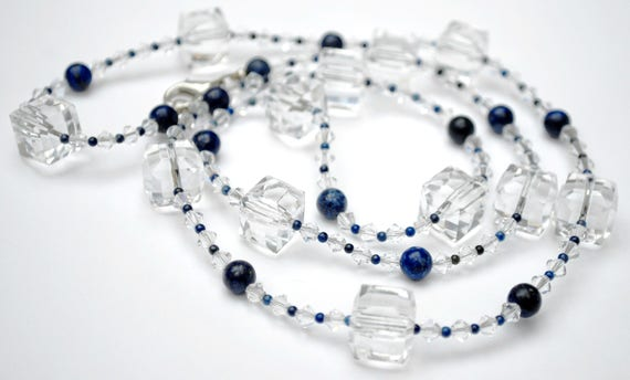 Blue Lapis Crystal Necklace square glass and polish gemstone Beads