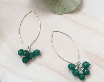 Faceted Green Agate and Sterling Silver Clusters Earrings