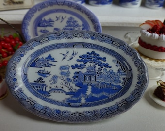 Blue Willow Tray for Dollhouse 1:12 scale