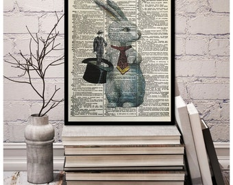 """Magician Rabbit out of the Hat Trick,"""" Reversal"""" Pop Art Play Rabbit Pulling Man out of Hat, Vintage Dictionary Page Art Print, 8x10.5"""