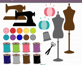 Sewing Clipart Commercial Use Clip Art INSTANT DOWNLOAD Digital Art Set Sewing Clipart Thread Clipart Sewing Machine Clipart